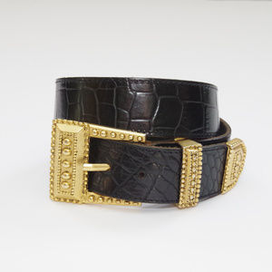 Genuine Leather 80s Glam Gold Leather Black Belt
